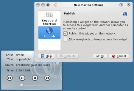 Publish a plasma widget on the network.
